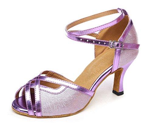 TDA Womens Fashion Peep Toe Glitter PU Leather Synthetic Salsa Tango Ballroom Latin Modern Dance Shoes Purple ikCmHrA