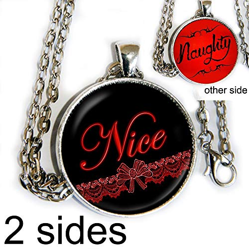 Naughty or Nice - DOUBLE SIDED - pendant necklace - HM