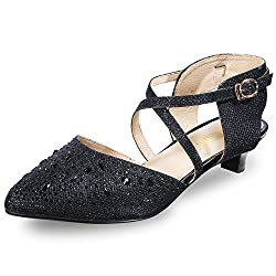 Women's Sequins Low Kitten Heels Shoes