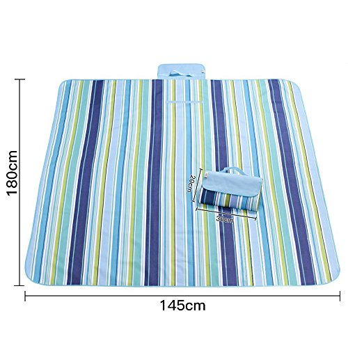 Outdoor Blanket, Rusee Compact Beach Picnic Blanket Tote Water-Resistant Sandproof Mat for Travel Camping BBQ Hiking Backpacking Backyard