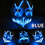 LED Light Mask Up Funny Mask from The Purge Election Year Great for Festival Cosplay Halloween Costume 2018 New Year Cosplay (Blue)