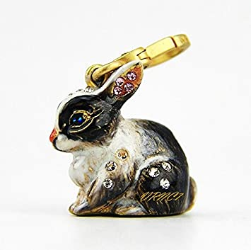 Jay Strongwater Hugh Bunny Charm – Natural 18k Gold Plated Swarovski Crystals Brand New Box