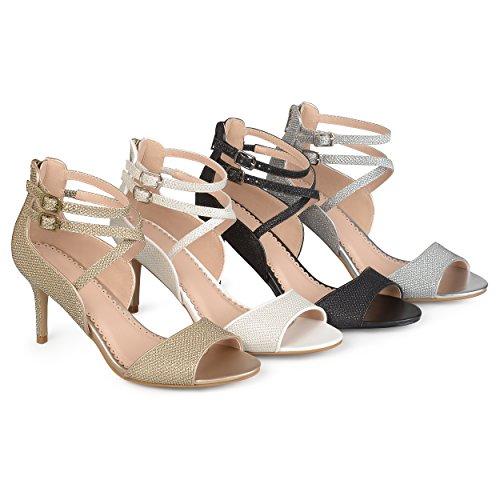 Brinley Co. Womens Open-Toe Glitter Strappy Heels