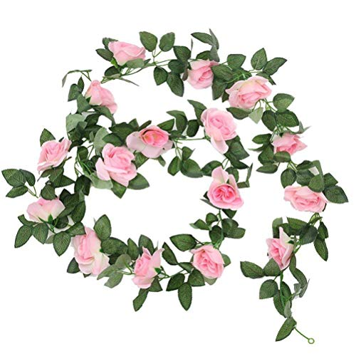 Sunrisee 1 Pack Artificial Silk Rose Flower Leaf Garland Fake Ivy Vines for Wedding Home Hotel Party Garden Craft Art Decor, 7.3FT (Pink)