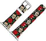 Band for Iwatch Bands 42mm,42mm Leather Strap Wrist Band Replacement W Silver Metal Clasp Compatible for Apple Watch Series 1 Series 2 Series 3 42mm - Funny and Lovely Vivid Rose and Skull Pattern