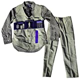 Andy & Evan Big Boys' 4-Pcs Glasses Tie, Shirt, Vest & Pant Set - Sz 7 - Navy Check/Grey