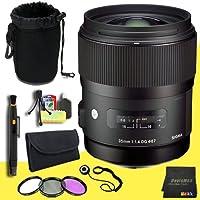 Sigma 35mm F1.4 DG HSM Lens for Nikon Digital SLR Cameras + 67mm 3 Piece Filter Kit + Lens Cap Keeper + Deluxe Lens Pouch + Lens Pen Cleaner + DavisMAX MicroFiber Cloth + Deluxe Starter Kit DavisMAX Bundle