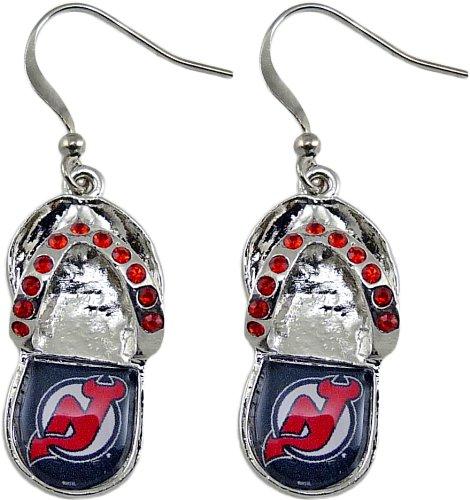 Nj Devils Earring (NHL New Jersey Devils Crystal Flip Flop Earrings)