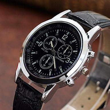 HULKY Reloj de pulsera analógico de cuarzo neutro con correa de piel para hombre, color negro: Amazon.es: Iluminación