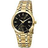 Accurist Men's Gold Plated Black Dial Bracelet Watch.