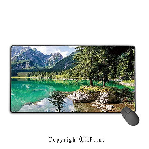 Waterproof coated mouse pad,Cottage Decor,Landscape of Alpine Lake Laghi di Fusine With Forest on Rocks and High Mountain,Premium textured fabric, non-slip rubber base Mouse pad with lock,15.8