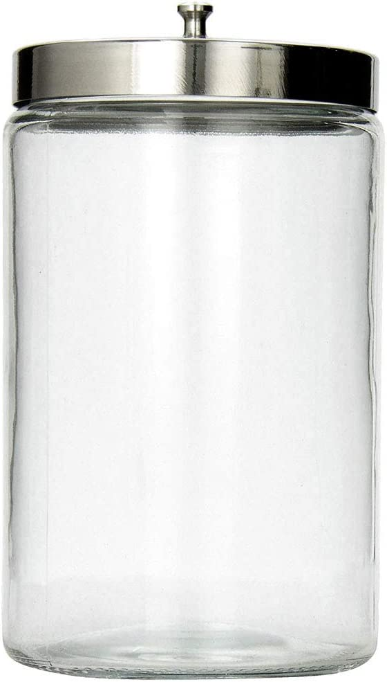 MABIS Decorative Storage Apothecary Clear Glass Jar for Kitchen, Bathroom or Laundry Organization with Metal Lid, 4.1 x 3.9 x 7 inches