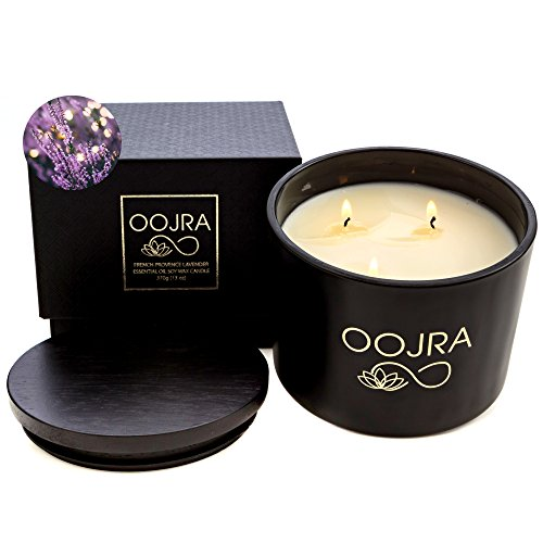 Price comparison product image OOJRA Essential Oil French Provence Lavender Scented Soy Wax Luxury Candle 3 Wick 13 oz (370g) 75+ hours with Lid and Gift Box