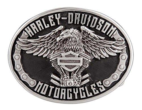 Harley-Davidson Men's Eagle Rider Polished Silver Finish Belt Buckle HDMBU11133 (Harley Belt Buckles)
