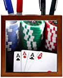 Rikki Knight RK-PH2040 Playing Cards and Poker Chips Design 5-Inch Wooden Tile Pen Holder (RK-PH2040)