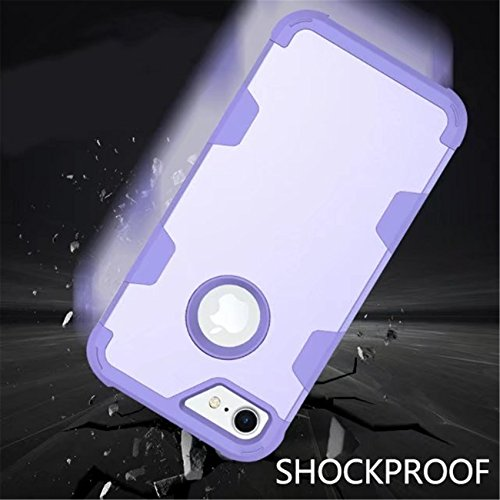 iPhone 7 Case, LIYINGKEJI Housse iPhone 7 Haute protection Hybrid 3 couches Soft Silicone Inner Case Housse rigide pour iPhone 7 4.7 pouces - Violet