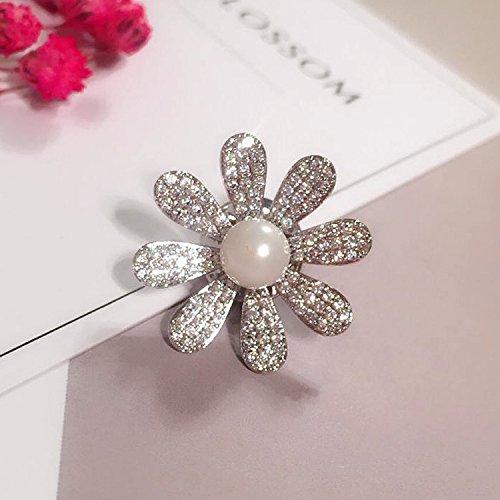 (micro-pearl inlay zircon flower corsage brooch pin Women's collar shirt collar flower barbed horse collar pin small collar pin buckle)