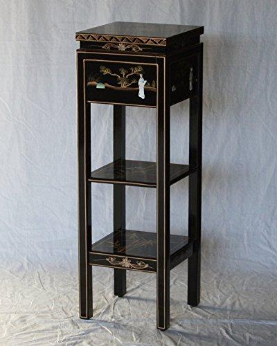 Model Black Pedestal - Black Lacquer Wooden Square Stand Model J3213-BK