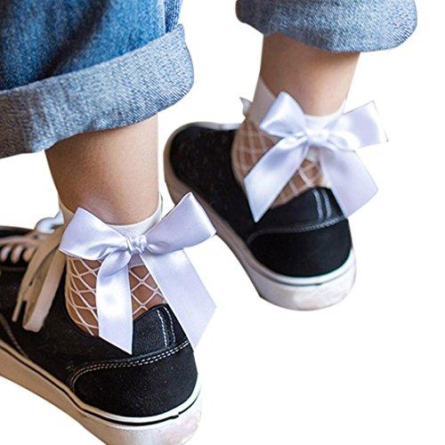 Plus Size Sock Monkey Costume (Oksale Womens Ruffle Bowknot Fishnet Ankle High Socks Mesh Lace Fish Net Short Socks)