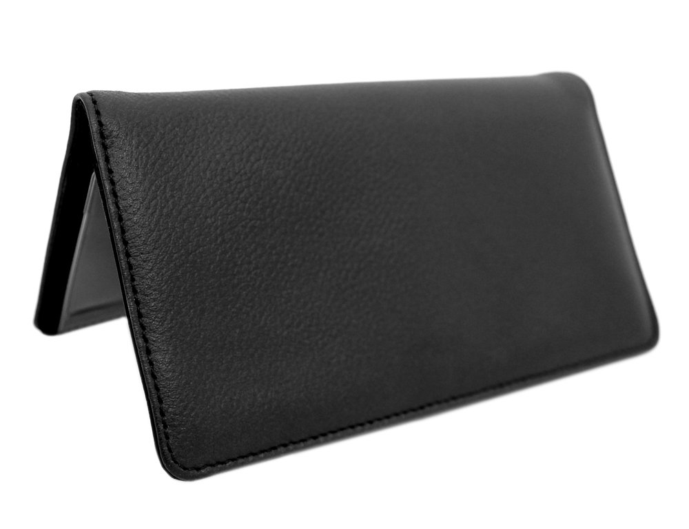 Snaptotes Black Pebbled Top Grain Leather Checkbook Cover