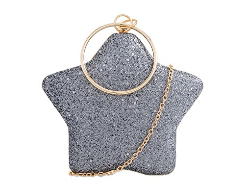 Star Compact Cluth Silver Hard Bag Glitter Haute Grey For Diva IwqXBxW1A