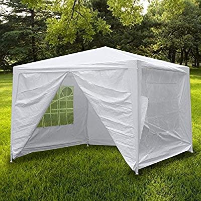 Smartxchoices 10' X 10' Outdoor White Waterproof Wedding Gazebo Canopy Tent with 4 Sidewalls and Windows Heavy Duty Tent for Party Events Beach BBQ Pavilion Patio Tent : Garden & Outdoor
