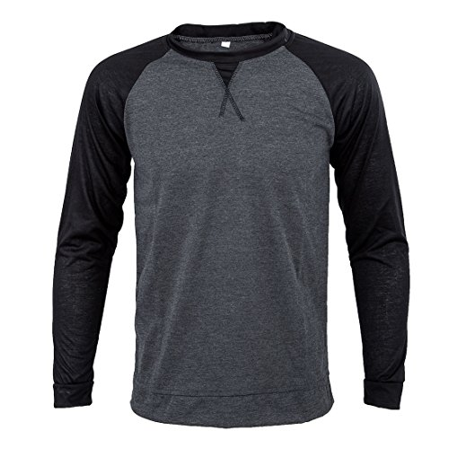 SODIAL(R) Fashion Mens Clothing Long Sleeve T shirt Baseball Sport Casual Men T-Shirt O-neck Contrast-Color Undershirt XL black and dark gray