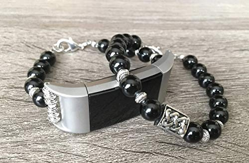 Luxury Set Onyx Stones Bracelets for Fitbit Charge 2 Fitness Tracker Handmade Natural Gemstone Beads Fitbit Charge 2 Bands Silver Celtic Knots Plate Charm Jewelry ()