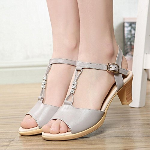 QL@YC Frauen Sandals Sommer Rau Mit Casual Leder Fisch Mouth Sandalen Komfortabel Large Size Kleid WomenS Shoes , white , 38