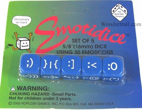 Emotidice Blue Dice Set of 5 16mm (16mm 5 Beads)