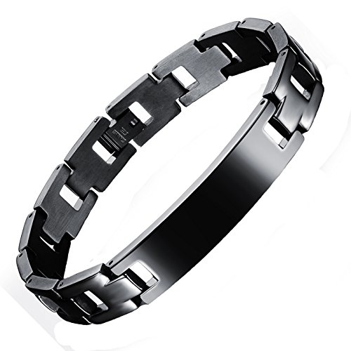 Fashion Ahead Titanium Steel Mens Lords Prayer Cross Golf Link Bracelet ,Black,Smooth Style (Cross Link Titanium Bracelet)