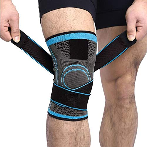 (MZjJPN 1PCS 2019 Knee Support Professional Protective Sports Knee Pad Breathable Bandage Knee Brace Basketball Tennis Cycling,Blue,XXXL)
