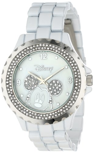 Disney Women's 56270-1A Mickey Mouse White Enamel Sparkle Watch