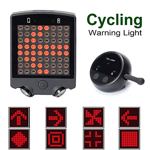 Turn Signals Bike - Gazelle Trading Bicycle Turn Signals Waterproof Remote Control Wireless RechargeableTail Light 64 LED Bike Rear Tail Red Laser Light Safety Warning Line Easy to Install