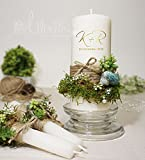 Unity candle set for Wedding Green blue Moss Nature garden country vintage theme with personalization monogram name, initials, date Perfect Nature lover gift- FREE gift packed Ready to Gift right away