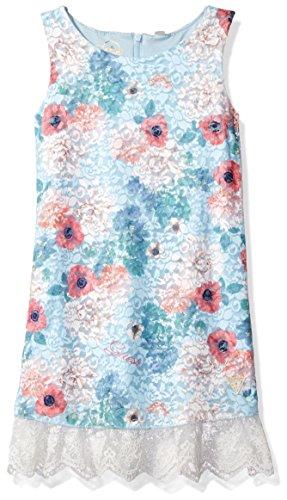 Fashion Girls Dress Blue flower Print