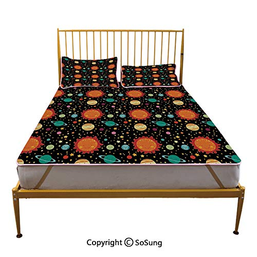 Space Creative Queen Size Summer Cool Mat,Cute Celestial Elements Smiling Heavenly Bodies Sun Earth Saturn Jupiter with Stars Decorative Sleeping & Play Cool - Jupiter Table Side Modern