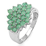 1.65 Carat Genuine Emerald Rounds Sterling Silver Cluster Ring