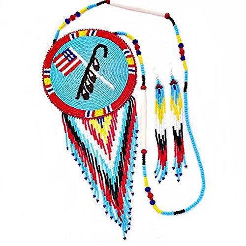 La vivia Handmade Multi Color Native American Flag Design Seed Beaded Long Medallion Necklace Earring Set N-6-SB-132