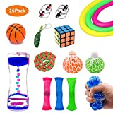 SMALL FISH Fidget Toys Set, 16 Pcs. Sensory Tools Bundle Stress Relief Anti-Anxiety Kids Adults, Pack Squeeze Balls, Mesh Marble, Soybean Squeeze, Flippy Chain, Liquid Motion Timer & More