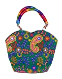Indian Flower Pot Desiged Bag with Attractive Handicraft Thread Work for Female (Green)
