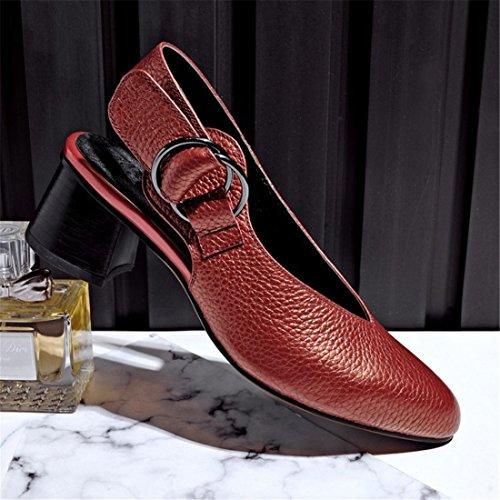 Wine in e cuoio Sandali Europa Donna Red Baotou scarpe Sandali con donne America cuoio in di qXxX6Caw0