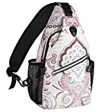 MOSISO Sling Backpack, Outdoor Hiking Daypack Shoulder Bag with Printed Pattern, National Style
