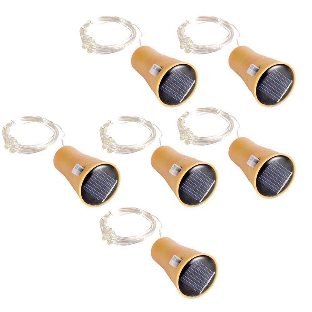 MAVIE Set de 6 Botellas de Vino Solar Corcho LED Luces 10 LED 1 Metro de Cobre de Alambre Estrellado Cork Luces para el Festival/Partido ...