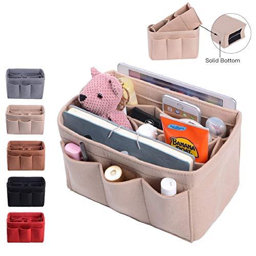 Purse Organizer, Bag Organizer With Sewn Bottom Insert New Design, Medium, Large (Medium, Beige)