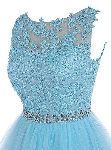 Abendkleid ParteiKleid Blau Brautjungferkleid CoutureBridal® Tulle Applique Kurze Marine Kleid Wulstige wgqt80g