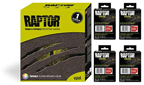 Raptor UP5068 Truck Bed Liner 1US Gallon + 4 Flame RED Colors Bundle