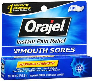 Orajel Oral Pain Reliever Gel for Mouth Sores Maximum Strength - 0.42 oz, Pack of 2