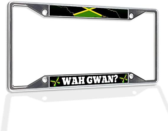 Metal Insert License Plate Frame Wah Gwan Jamaica Jamaican Weatherproof Car Accessories Black 2 Holes Solid Insert