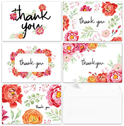 - Thank You Cards - 40 Floral Thank You Notes for Your Wedding, Baby Shower, Business, Graduation, Anniversary, Bridal Shower - Watercolor Flower Cards with Envelopes - Blank Inside